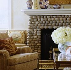 River Stone Fireplace river rock   modern rustic, stone wallpaper and rock design