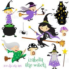 IZABELLA the WITCH   Clip art set in premium by LittlePumpkinsPix