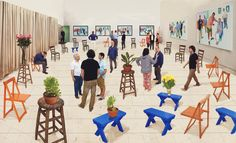 "Exhibition: 'David Hockney: Current' at NGV International, Melbourne. ""In the end the work is just appearance and illusion or, as someone said to me recently, smoke and mirrors."" https://artblart.com/2017/03/05/exhibition-david-hockney-current-at-ngv-international-melbourne/ Art work: David Hockney (English 1937- ) '4 blue stools' 2014 Photographic drawing printed on paper, mounted on Dibond"