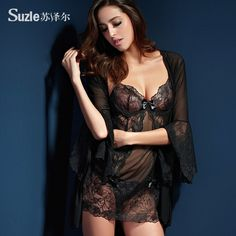 Suze Er pijamale sexy de vară de sex feminin ispită de lux din trei piese curele de lenjerie dantelă cămașă de noapte cămașă de noapte 81190