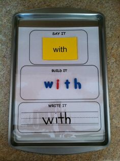 Reading Street Word Work-Say It, Build it, Write It! could be a station. Great for sight words! Teaching Reading, Fun Learning, Learning Activities, Reading Art, Cookie Sheet Activities, Reading Mastery, Sight Word Activities, Classroom Activities, Sight Word Games