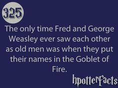 Harry Potter Facts #325:    The only time Fred and George Weasley ever saw each other as old men was when they put their names in the Goblet of Fire.