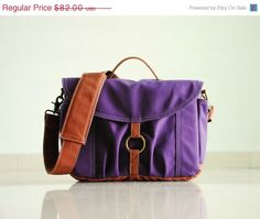 SUMMER SALE - Koi-S in Purple - Canvas Camera / Vegan Dslr Bag / Base Strap Padded / Water Resistant Liner Interior / Man / Woman's Messenge on Etsy, $73.80