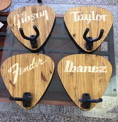 Beautiful Custom Pick Shape guitar hanger with your choice of design. Proudly display your instrument with a unique flair and style. Guitar Crafts, Guitar Diy, Guitar Room, Guitar Storage, Guitar Display, Casa Mix, Wood Projects, Woodworking Projects, Guitar Wall Hanger