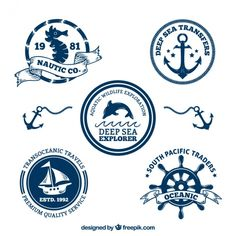 Decorative nautical badges pack Free Vector
