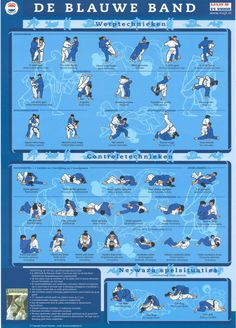 """Throws- and Control-Techniques to attain the blue belt. From the Judo Infographic: """"Judotechnieken: De blauwe Band"""" Judo Moves, Judo Gi, Judo Training, Judo Throws, Jiu Jitsu Techniques, Martial Arts Quotes, Ju Jitsu, Martial Arts Techniques, Best Cardio Workout"""