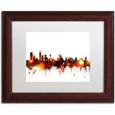 Trademark Fine Art Liverpool England Skyline Red Canvas Art by Michael Tompsett, White Matte, Wood Frame, Size: 11 x 14, Red