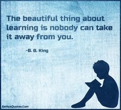 The beautiful thing about learning is nobody can take it away from you.