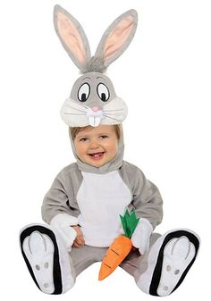 """Infant Bugs Bunny Costume """"What's up, Doc?""""There is no Looney Tune more famous than Bugs Bunny. This rabbit has spent years traveling the world via rabbit hole going from place to place. Now when he gets to some of these locations he gets into mini fights with the likes of Elmer Fudd, Yosemite Sam, and even Daffy Duck. And no matter what this bunny has always come out on top. Now your little one can become the top toon in this great cartoon costume!"""