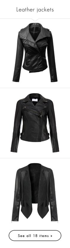 """""""Leather jackets"""" by cassy-style ❤ liked on Polyvore featuring outerwear, jackets, coats, long sleeve jacket, fake leather jacket, collar jacket, synthetic leather jacket, faux leather jacket, kurtki and leather jacket"""
