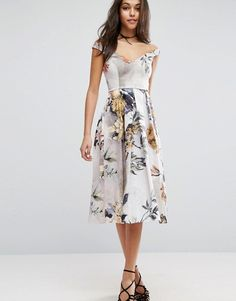 ASOS Off Shoulder Floral Midi Prom Dress