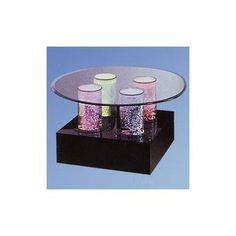 Midwest Tropical Fountain Aqua Coffee Table Shape: Square, Base Finish: Mirror, Lights: 4 LED Lights, Wheel: Color Wheel