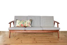 Danish vintage teak couch cushion by Christina Lundsteen
