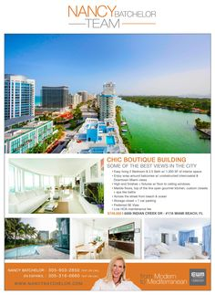 Reduced! Steps from the Beach, newer building, built by Sieger Suarez with only 34 units & 2 units per floor. Enjoy sunrise & sunset, unobstructed intercoastal & downtown Miami views w/wrap around balconies with floor to ceiling windows. View Link: http://search.nancybatchelor.com/idx/details/listing/a016/A2012268#.VX7gnqZ9dtI