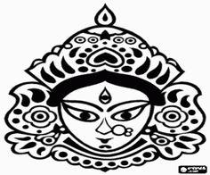 Colorear Cabeza de Durga, una diosa hindú