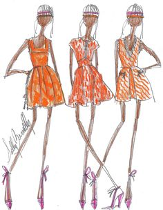 SKETCH A DAY by sully 40/365 sullybonnelly.com #SullyBonnelly #Sully #Fashion #CFDA #FashionDesigner #NYC #Summer #Flowers #Sketch #art #Dress #MiniDress #Orange