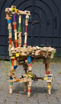 Chair created from children's building blocks by Dutch designer Pepe Heykoop