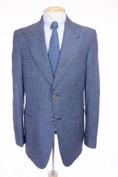 SUITSUPPLY Mens Sport Jacket 106 UK 44 Long L Blue Multi Weave Linen Peak Blazer #Suitsupply #TwoButton