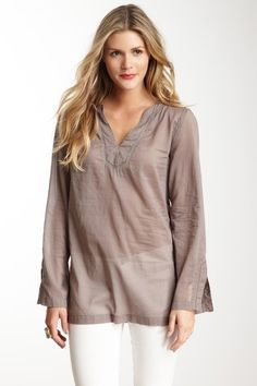 Voile V-Neck Tunic Top