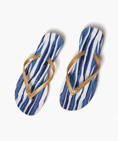 Baoba Flip Flop - in blue and white painted brushstrokes! #shoes #flip_flops #sandals #blue #white #beach #pool #vacation #resort
