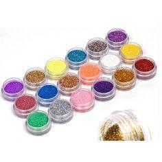 18 Colors Nail Art Glitter Powder Dust Decoration kit For Acrylic Tips UV Gel DIY Drop Shipping Wholesale Nail Glitter