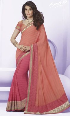 Shop Online for Pink & Peach Color Wrinkle Chiffon Function & Party Sarees : Kritish Collection  YF-31474 - YellowFashion.in - 1
