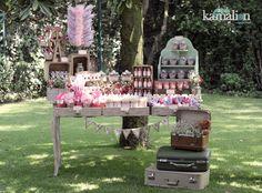 www.kamalion.com.mx - Mesa de Dulces / Candy Bar / Postres / Vintage / Rustic / Baby Shower / Morado Rosa / Pink Purple.