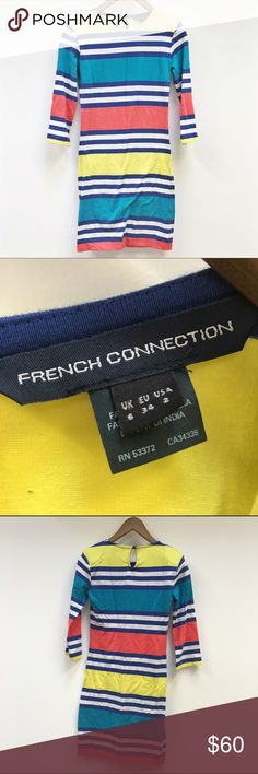 French Connection | pastel Jag Jersey dress Striped stretch knit. Bateau neckline. Three-quarter sleeves; lightly padded shoulders. Fitted silhouette. Pullover style. Cotton/spandex. Machine washable. Size 2. excellent condition, NO TRADES. French Connection Dresses Long Sleeve