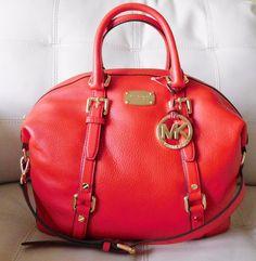 New Michael Kors Bedford Medium Satchel Mandarin Orange Leather #MichaelKors #Satchel