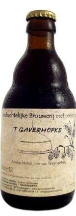 Cerveja Gaverhopke Den Twaalf, estilo Belgian Quadrupel / ABT, produzida por 't Gaverhopke, Bélgica. 12% ABV de álcool.