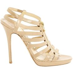 Pre-owned Jimmy Choo Leather Sandals ($317) ❤ liked on Polyvore featuring shoes, sandals, beige, pre owned shoes, beige leather sandals, jimmy choo, beige shoes and leather footwear