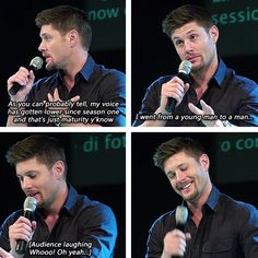 [gifset] Jensen on how as his voice as lowered as he's aged. He's so cute when he's all embarrassed <3  #Jensen