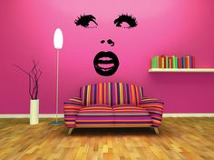 FREE SHIPPING Pop Art Woman's Face Wall Decal Custom by DecalChic