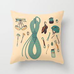 Climbing+gear+square+Throw+Pillow+by+Lin+Zagorski+-+$20.00