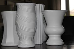 Online Interior Design- spray painted glass vases to look like pottery
