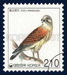 Definitive Postage Stamp, kestrel, Bird, Orange, 2002 01 15, 보통우표, 2002년 1월 15일, 2191, 황조롱이, postage 우표