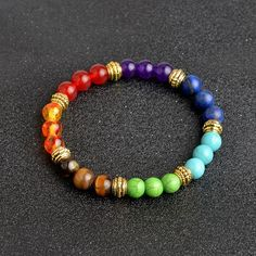 Multi-color Seven Chakras Healing Beads Bracelet