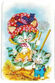 vintage SWAP CARDs 1970s blank back CUTE CATS KITTENs cleaning house