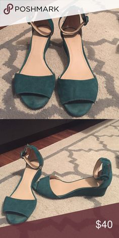 J. Crew emerald green heels Only worn once! These are J.Crew low heel shoes, worn at my wedding! Super comfortable, loved these shoes! J. Crew Shoes Heels