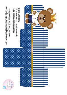 Caixa Cubo 3D Ursinho Príncipe Azul Marinho
