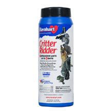 Critter Ridder Granules- Effectively rid your yard and garden of pesky 'Critters'. Ingredients irritate pests when they smell or taste this product. Available in both liquid and granular formulas so you can apply it to a wide variety of surfaces including plants, soil and mulch to repel dogs, cats, woodchucks, squirrels, raccoons and skunks. 2.2 lb. granular (for use as a perimeter barrier, covers 90 sq. ft.)