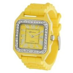 Geneva Platinum Women's Square-shaped Rhinestone Silicone Watch  @Overstock - This stylish Geneva womens watch is sure to add the perfect pop of color to any outfit. The square-shaped face plate is accented with dazzling Czech rhinestones. This watch is perfect for any occasion. Dress it up or dress it down.http://www.overstock.com/Jewelry-Watches/Geneva-Platinum-Womens-Square-shaped-Rhinestone-Silicone-Watch/6425253/product.html?CID=214117 $19.19