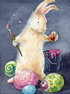 quenalbertini: Mardi Speth 'Happy Easter Day', Pinzellades al món Easter Bunny Pictures, Cute Easter Bunny, Easter Art, Hoppy Easter, Easter Eggs, Easter Bunny Colouring, Illustration Inspiration, Easter Drawings, Easter Paintings