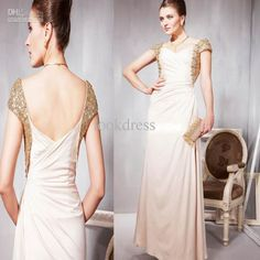 Wholesale Dramatic a-line chiffon v-neck ruffle crystals sequin backless floor length porm dresses party dress, Free shipping, $129.92-141.12/Piece | DHgate