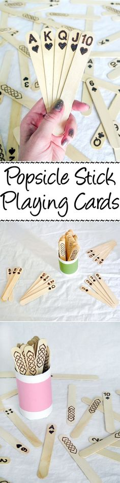 Stick Playing Cards Jumbo popsicle sticks + wood burning = a fun & unique set of playing cards!Jumbo popsicle sticks + wood burning = a fun & unique set of playing cards! Craft Stick Crafts, Wood Crafts, Fun Crafts, Diy And Crafts, Simple Kids Crafts, Lolly Stick Craft, Ice Cream Stick Craft, Craft Sticks, Recycled Crafts