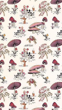 Fall Wallpaper, Wallpaper Backgrounds, Iphone Wallpaper, Mushroom Wallpaper, Whatsapp Wallpaper, Mushroom Art, Pattern Wallpaper, Wall Collage, Cute Wallpapers