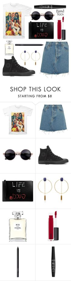 """band tees"" by katerinaso19 ❤ liked on Polyvore featuring RE/DONE, Gucci, Isabel Marant, Chanel, MAC Cosmetics, NARS Cosmetics and NYX"