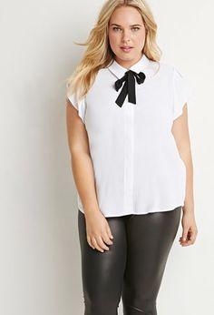 Plus Size Tie-Neck Shirt | Forever 21 PLUS - 2000173237