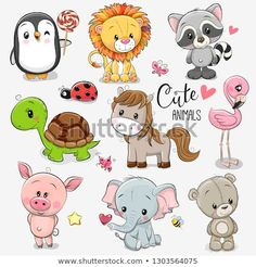 Set of Cartoon Animals on white background. Set of Cute Cartoon Animals on a white background royalty free illustration Cartoon Baby Animals, Baby Animal Drawings, Cartoon Drawings Of Animals, Cute Baby Animals, Baby Cartoon Drawing, Drawing Cartoons, Cartoon Mignon, Art Mignon, Cute Animal Illustration