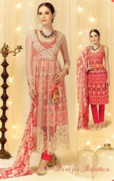 Mystical Cream and Red Designer Salwar Kameez
